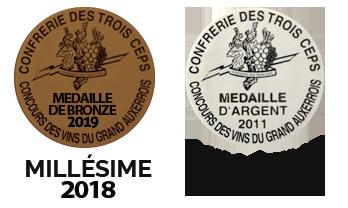 medaille bronze confrerie des trois ceps 2018 et médaille d'argent 2011