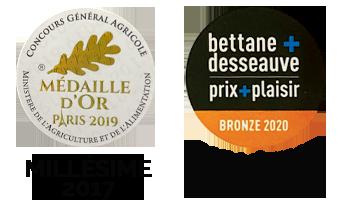 medaille d'or salon de lagriculture 2019 medaille bronze 2020 Bettane Desseauve millésime 2018