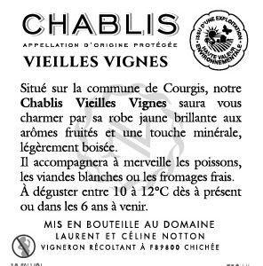 Contre étiquette NOTTON VIEILLES VIGNES