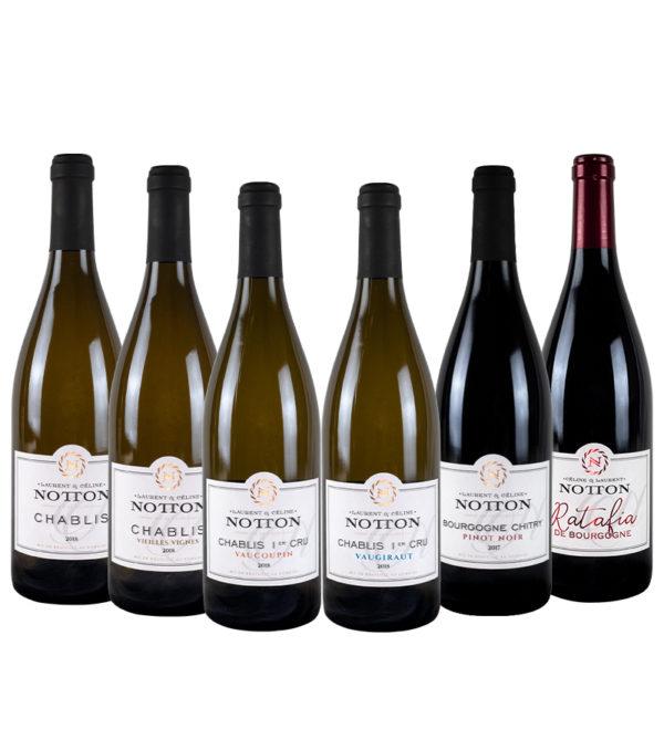Coffret Découverte du Domaine Notton Chablis, Chablis Vieilles Vignes, Vaucoupin, Vaugiraut, Chitry Rouge, Ratafia