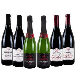 Coffret Découverte du Domaine Notton Bourgogne Chitry Rouge, Cremant de Bourgogne, Ratafia de Bourgogne